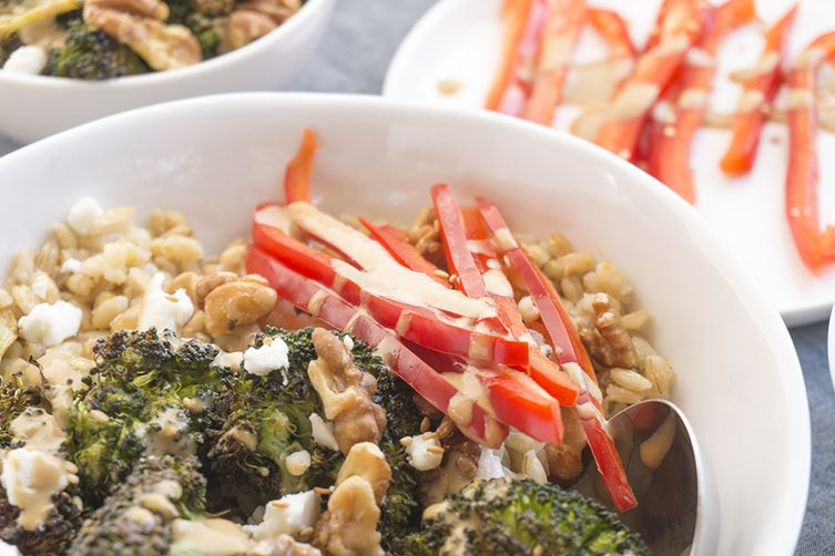 roasted broccoli barley bowls + creamy sesame tahini dressing