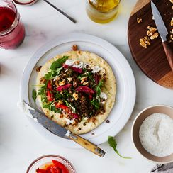 Walnut-Lentil Gyros with Spiced Yogurt