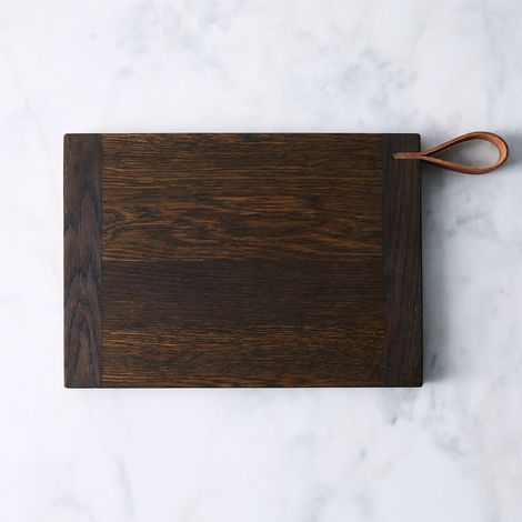 Oxidized Oak Cutting Board with Leather Strap