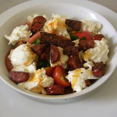 Tomato and Mozzarella Salad with Chorizo