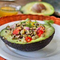Mung Bean, Lentil, and Quinoa Salad-Stuffed Avocado