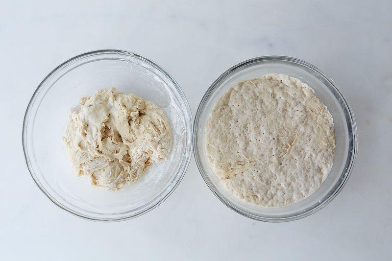 Left, a just-mixed biga. Right, a biga post-fermentation.