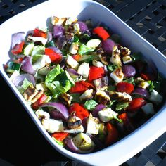 A Salad of Grilled Vegetables over Crisp Lettuce with Halloumi Croutons