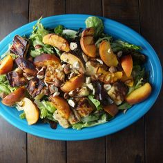 Grilled Peach and Bread Cheese Salad with Basil Vinaigrette