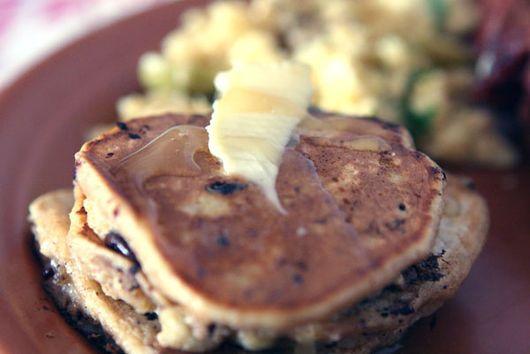 Whole Wheat Oatmeal Pancake with Chocolate and Banana