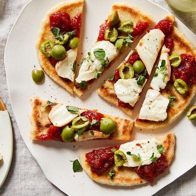 Flatbread With Taleggio, Tomato Jam & Olives