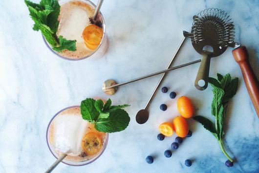 Kumquat-Blueberry Mule with Bourbon