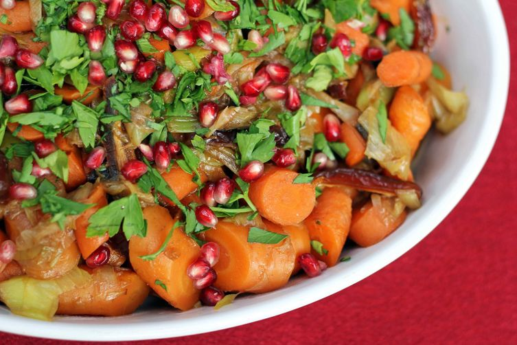 Pomegranate Glazed Carrots and Leeks