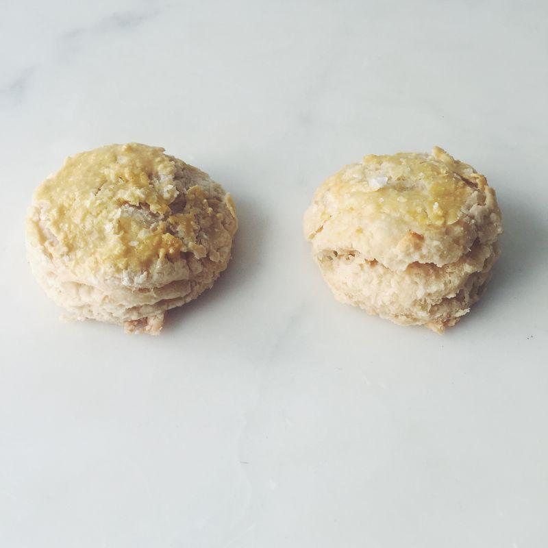 Baking powder (left) versus Bakewell Cream (right).