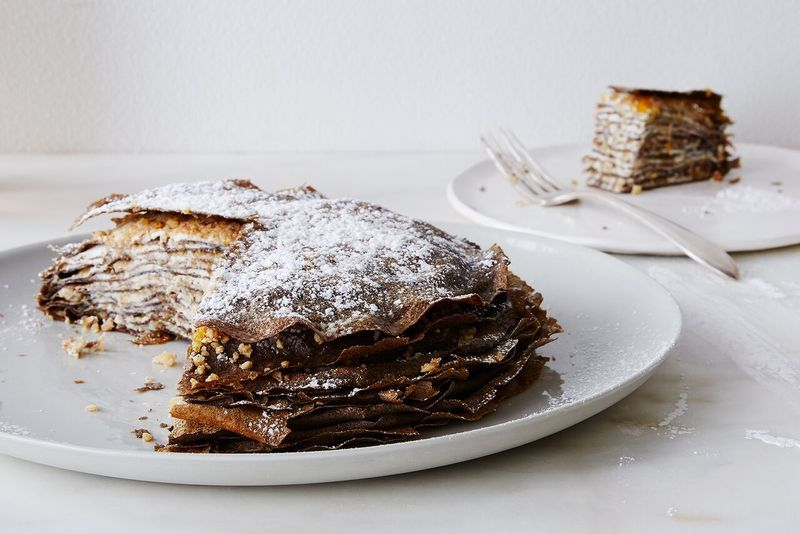 Buckwheat Crêpe Cake with Walnuts, Honey, and Goat Cheese