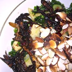 Kale apple and cranberry salad with caramelized onions