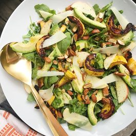 Roasted Delicata, Apple and Arugula Salad with Avocado and Lemon Vinaigrette