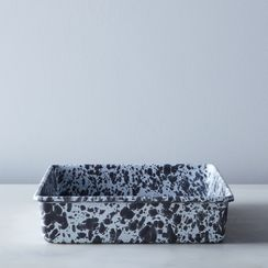 Grey Splatter Enamel Brownie Pan