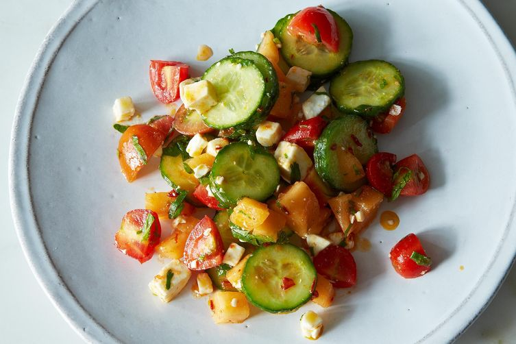 Summer Melon Salad with Harissa, Feta, and Mint