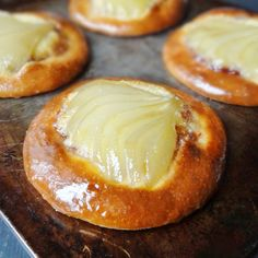 Spiced Poached Pear and Frangipane Brioche Tarts