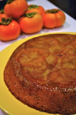 Maple Persimmon Upsidedown Cake with Maple Cream