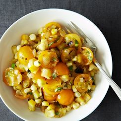 Tomato Salad With Corn, Summer Squash & Roasted Onions