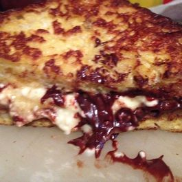 Melty Chocolate/Cream Cheese French Toast Breakfast Sandwiches
