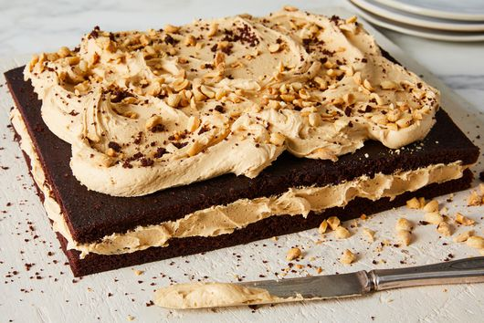 Chocolate Cake With Peanut Butter Frosting & Salty Peanuts