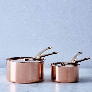 Vintage Copper French Saucepan with Brass Handles, Late 19th Century