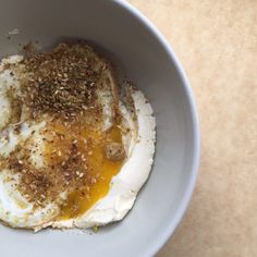 Labneh With Fried Egg and Coconut Dukkah
