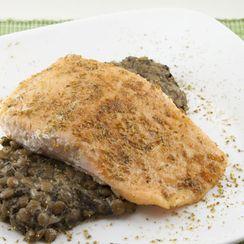 Spiced Salmon over Coconut Lentils