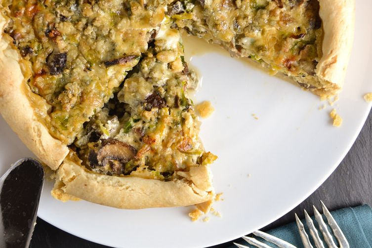 Savory Brussel Sprout, Mushroom, and Bleu Cheese Brunch Pie.
