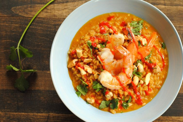 Spicy Coconut Risotto with Lime Shrimp