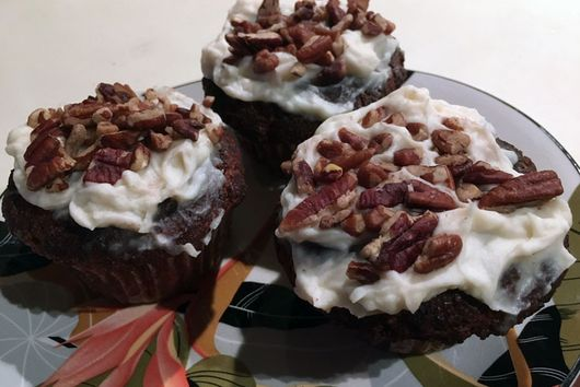 Gingerbread Muffins with Peppermint Frosting (LC)