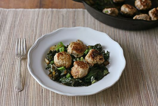 Ginger Chicken Meatballs with Bok Choy