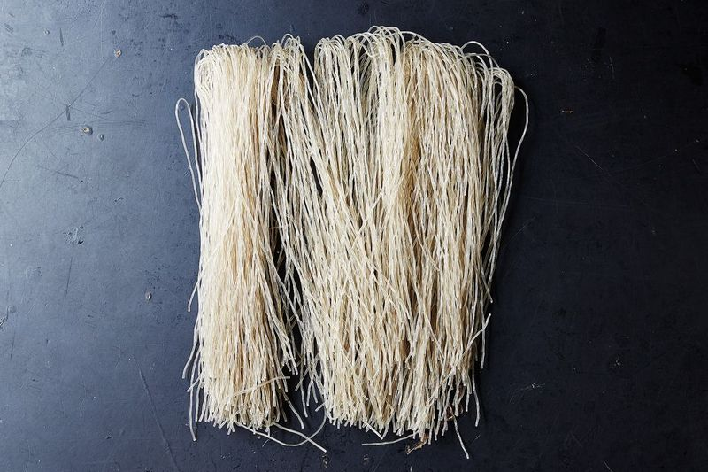 Dangmyeon noodles, made of sweet potato starch, are an essential ingredient in jap che.