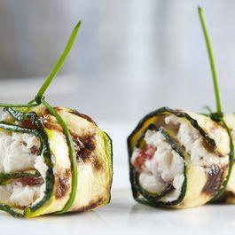 Zucchini stuffed with Savory Tofu Spread