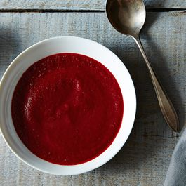 Chilled Roasted Beet and Carrot Soup with Parsley Lime Cream