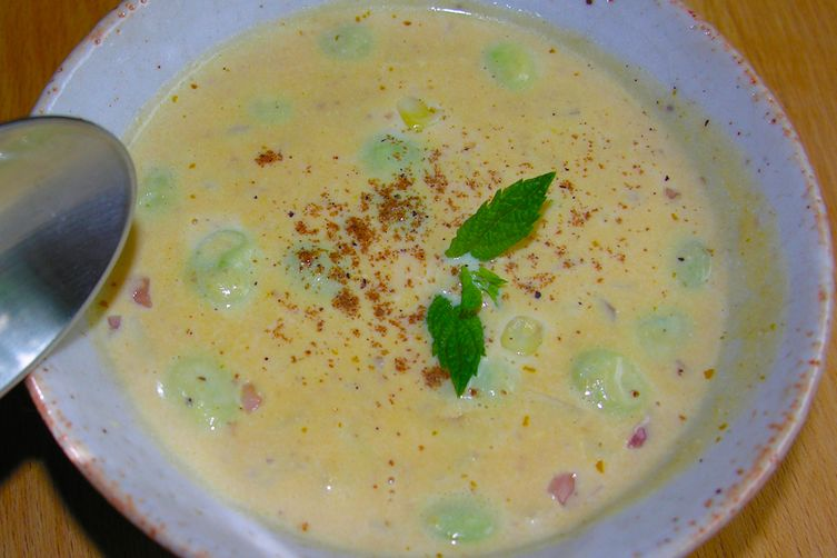 Cream of Succotash Soup, New England style with baby lima beans, pumpkin and corn