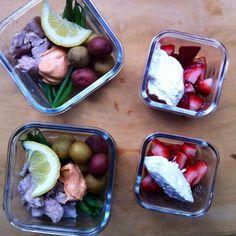 Tuna Niçoise and Strawberries with Ricotta
