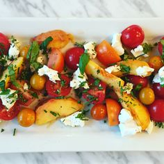 Tomato, Peach, Chevre and Herb Salad with Apple Vinaigrette