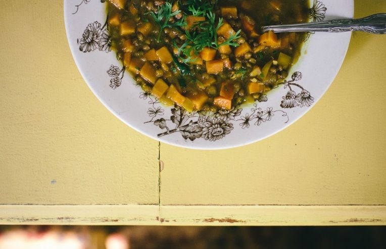 Sweet Potato Lentil Soup with Curry and Lime