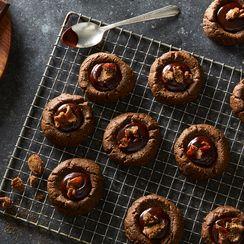 Vegan Dark Chocolate-Gingerbread Thumbprint Cookies