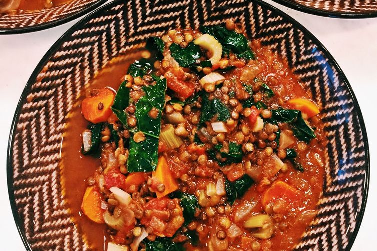 LENTILS AND CHICKEN SAUSAGE SOUP WITH KALE