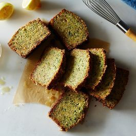 Gingery Olive Oil Zucchini Cake with Poppy Seeds and Lemon Crunch Glaze
