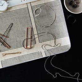 Melamine & Linen Rectangular Platter