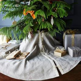 Grey Linen Tree Skirt