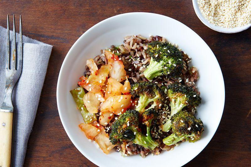 Warm Kimchi Bowl with Spicy Broccoli and Sesame-Scallion Wild Rice
