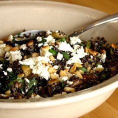Black Quinoa Salad with Grilled Vegetables, Basil, Feta and Pine Nuts