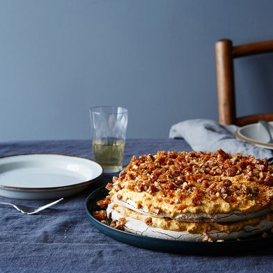 Pumpkin Pavlova with Pecan Brittle
