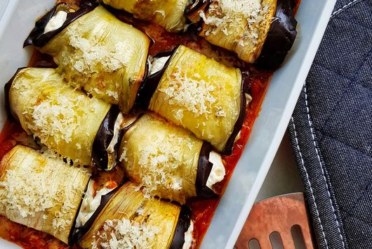 Date and feta-stuffed eggplant rollatini