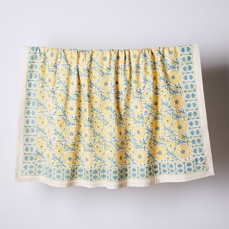 Handmade Block-Print Floral Cotton Tablecloth