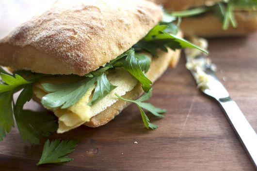 Fried Chickpea Polenta Sandwich