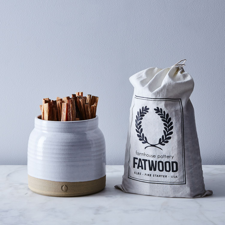 Milk Jug Crock & Fatwood Fire Starter by Farmhouse Pottery