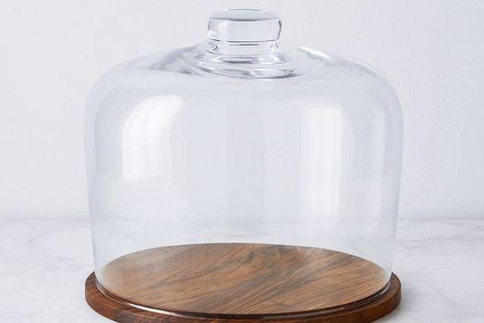Hand-Blown Glass Cloche & Walnut Base